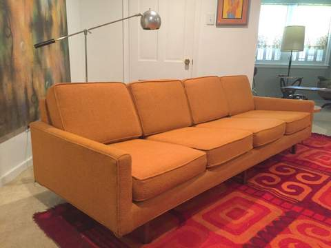 Mid century Modern orange sofa