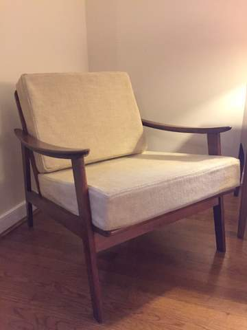 Mid Century Modern Walnut Framed Yugoslavian Lounge Chair