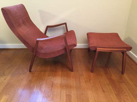 Sensational Mid Century Modern Walnut Scoop Chair Ottoman By Milo Gmtry Best Dining Table And Chair Ideas Images Gmtryco