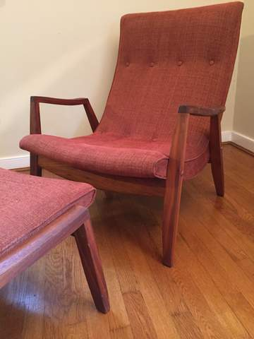 Mid Century Modern Scoop Lounge Chair And Ottoman By Milo Baughman