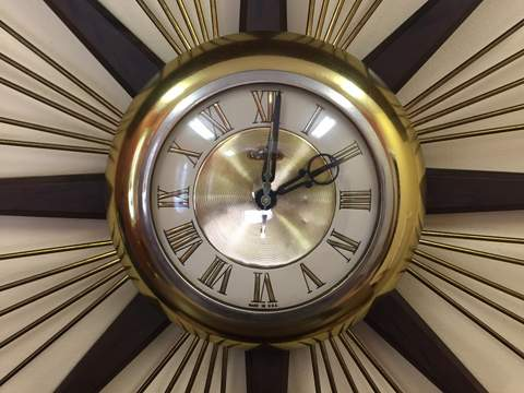 mid century modern vintage starburst clock by United