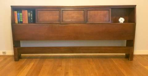 mid century modern walnut king size headboard with sliding. Black Bedroom Furniture Sets. Home Design Ideas