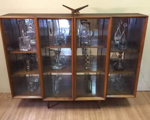 vintage mid century modern mirrored display cabinet