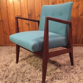 Danish Modern Jens Risom Walnut Lounge Chair With Teal Upholstery