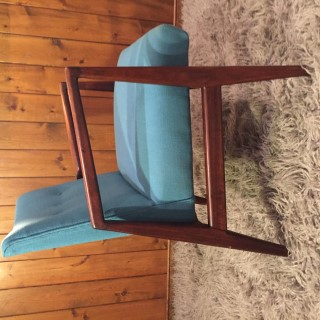 Danish Modern Jens Risom Walnut Lounge Chair With Teal