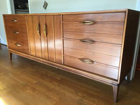 Mid Century Modern Triple Lowboy Dresser With Bent Wood