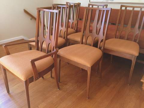 Walnut broyhill brasilia dining chairs epoch for Walnut dining chairs modern