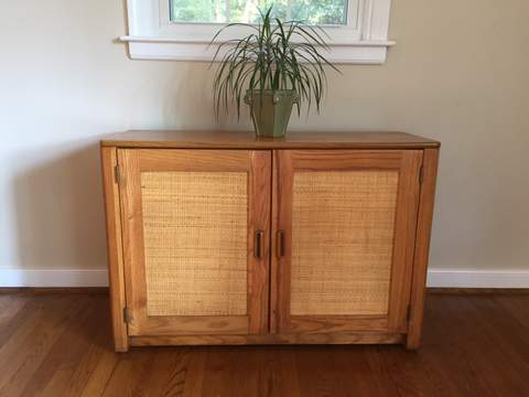 Vintage Compact Liquor Cabinet With Rattan Front And Back