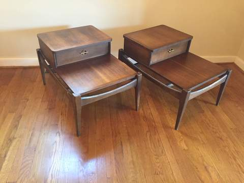 Mid Century Modern Tiered Walnut End Tables With Drawer