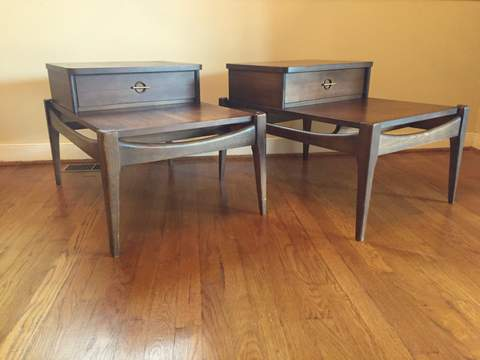 Mid Century Modern Tiered Walnut End Tables with Drawer ...