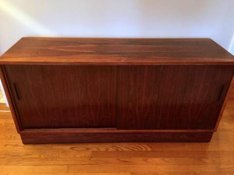 Danish Rosewood Credenza : Danish rosewood media credenza with sliding doors epoch