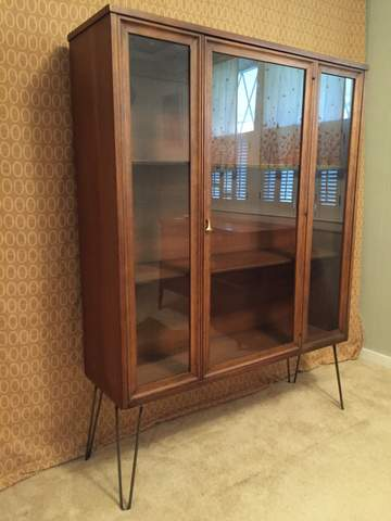 mid century modern display cabinet with hairpin legs