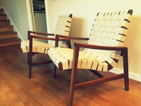 Jens Risom For Knoll Cotton Strap Lounge Chair