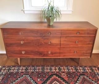 Mid Century Modern Walnut Triple Dresser By Stanley