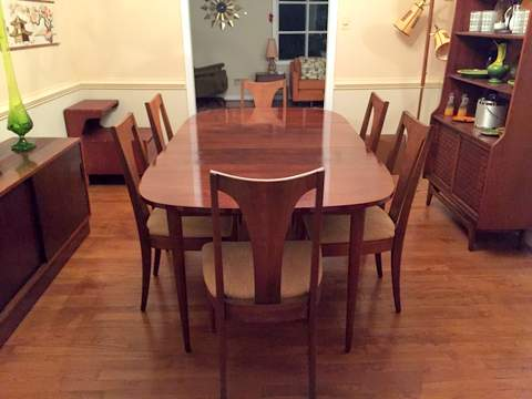 Mid Century Modern Walnut Dining Set by Broyhill Emphasis - EPOCH