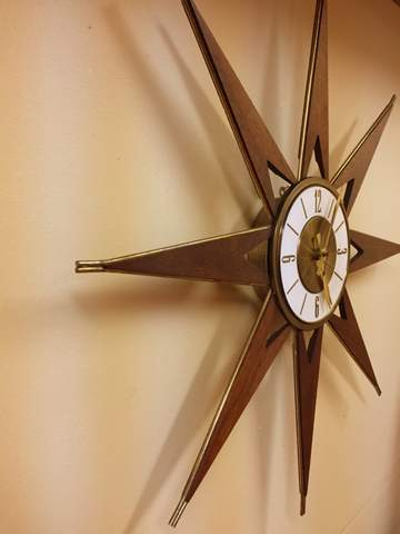 mid century modern walnut and brass starburst clock Elgin