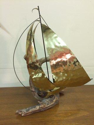vintage mid century sailboat sculpture brass driftwood