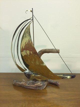 mid century sailboat sculpture brass dfirftwood