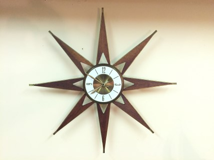 vintage mid century modern atomic starburst clock walnut brass elgin