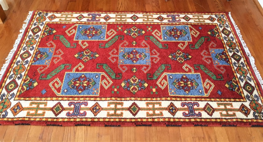 Vibrant Hand Knotted Indian Throw Rug In Crimson Turquoise