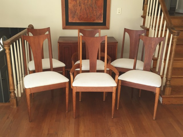 Set of 6 mid century modern t back dining chairs from for Broyhill american era bedroom furniture