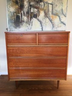 Cherry Highboy Dresser With Lock Key By Harmony House