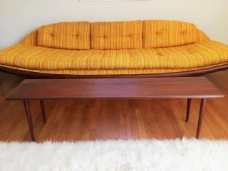 Danish modern teak bench style coffee table Pearsall Gondola sofa