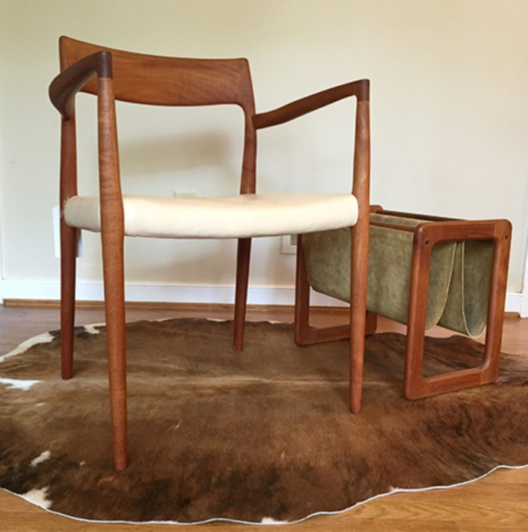 mid century modern Niels Moller teak accent chair leather seat