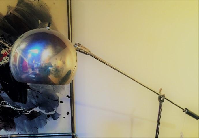 mid century modern chrome shade pivoting floor lamp