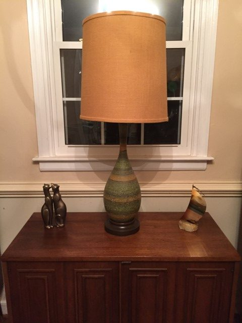vintage green genie table lamp burlap barrel shade