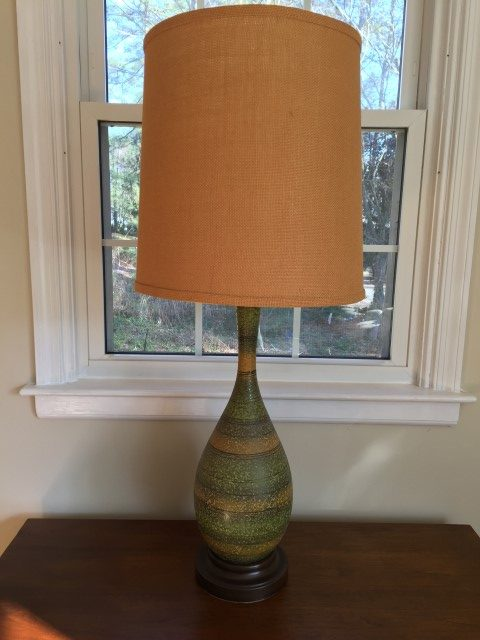 vintage table lamp green burlap barrel shade