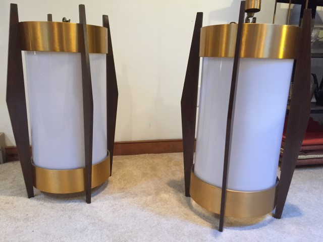 large mid century modern walnut brass glass cylindrical pendant lamps