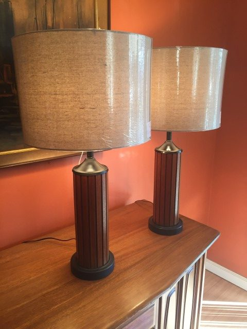 mid century modern walnut metal lamps