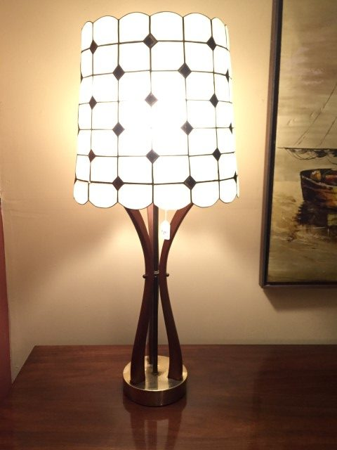 mid century modern sculpted wood table lamp capiz shell shade
