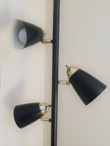 mid century modern black tension rod pole lamp