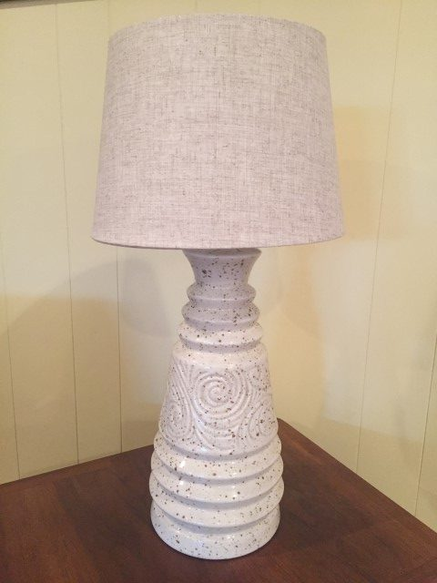 Pair Of Vintage Cream Ceramic Table Lamps Epoch
