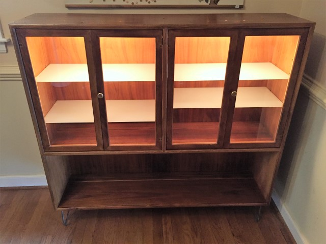 mid century modern display cabinet with interior lighting by drexel