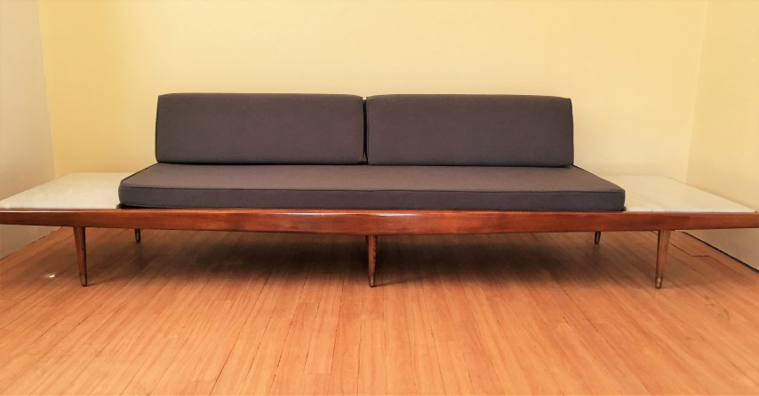 mid century modern restored daybed marble side tables