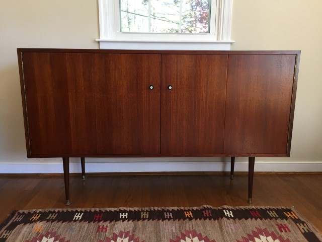 Mid Century Modern Danish Credenza : Mid century modern walnut credenza with folding double doors epoch