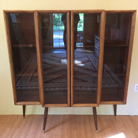 Mid Century Modern Walnut Display Cabinet Glass Fronted