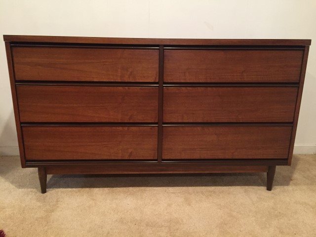 Mid Century Modern Simple Six Drawer Lowboy Dresser