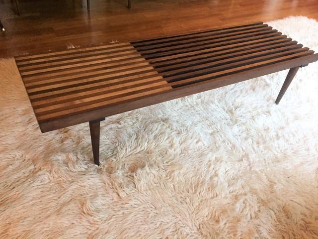 Mid Century Modern Walnut Amp Maple Slat Coffee Table Epoch