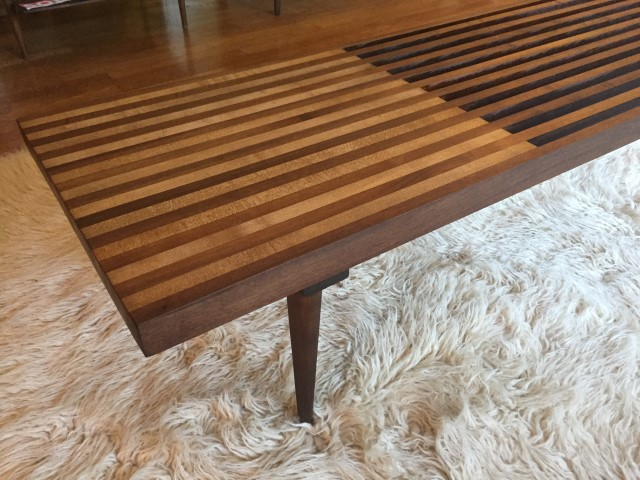 mid century modern walnut maple wood slat coffee table