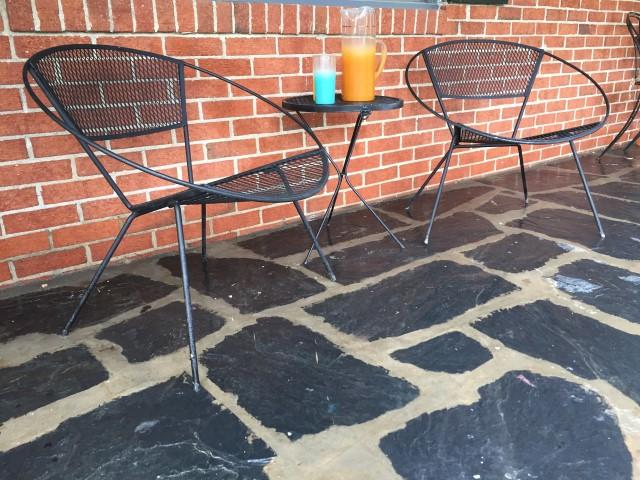 mid century modern iron mesh patio set Saltorini