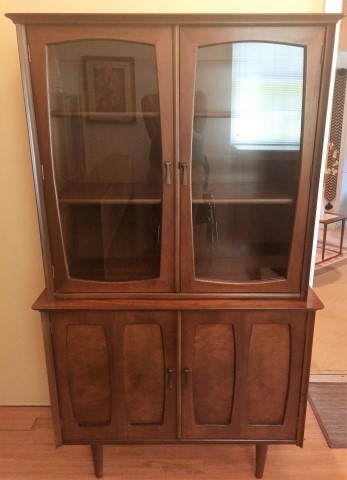 Good Mid Century Modern Compact China Cabinet By Bassett Furniture