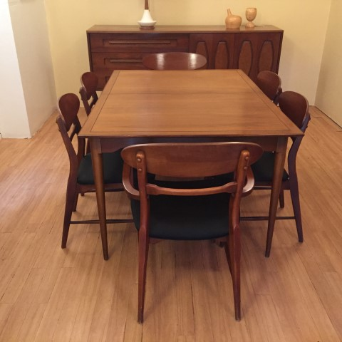 mid century modern walnut dining set danish style 8 chairs