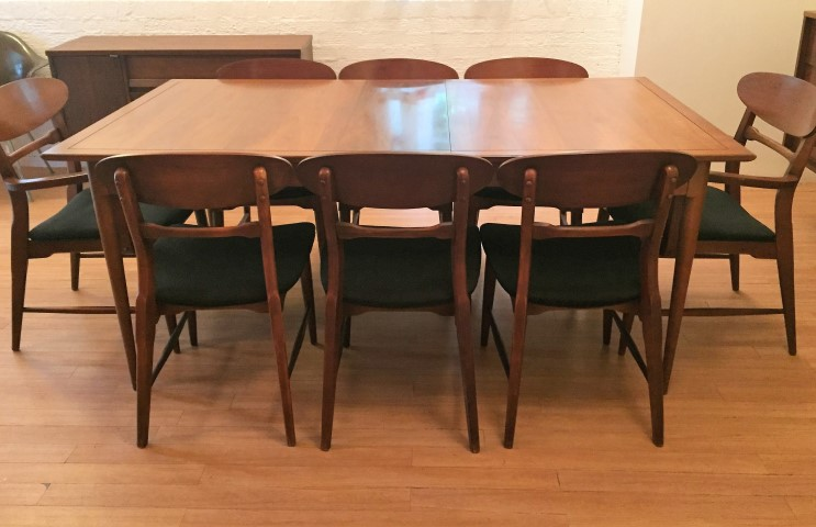 Mid Century Modern Danish Style Walnut Dining Set By Lane