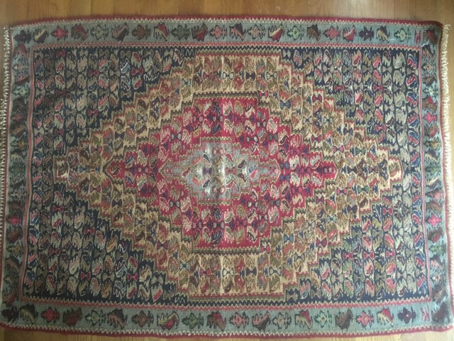 persian senneh kilim rug carpet single medallion