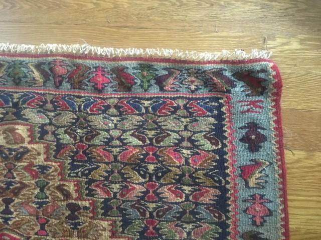 persian senneh kilim rug carpet single medallion