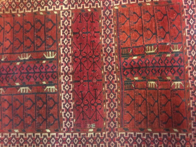 vintage turkoman tribal rug red blue